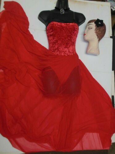 Praise Ballet Lyrical DANCE COSTUME MESH FLOORLENGTH RED w//choker /& headpiece