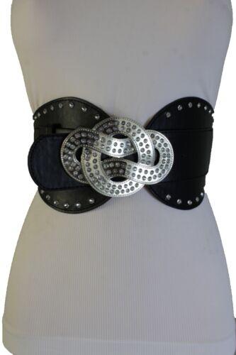 Women Elastic Belt High Waist Hip Silver Metal Infinity Buckle Wide Fashion S M