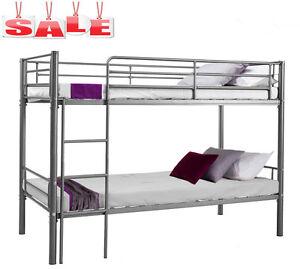 Modern-3FT-Single-Silver-Metal-Bunk-Bed-Frame-2-Person-for-Adult-Children-UK