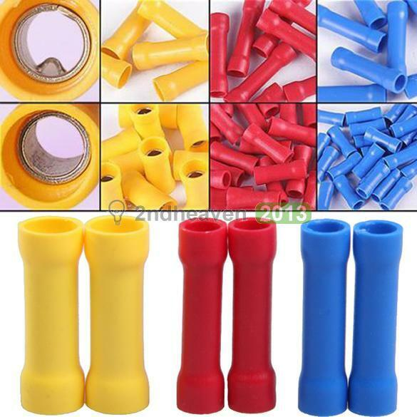 Insulated 100x Straight Wire Butt Spade Connector Electrical Crimp Terminals Kit