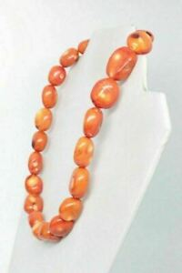 Vintage-Salmon-Coral-Sterling-Silver-Bed-Necklace-107-0-gram-19-Inch