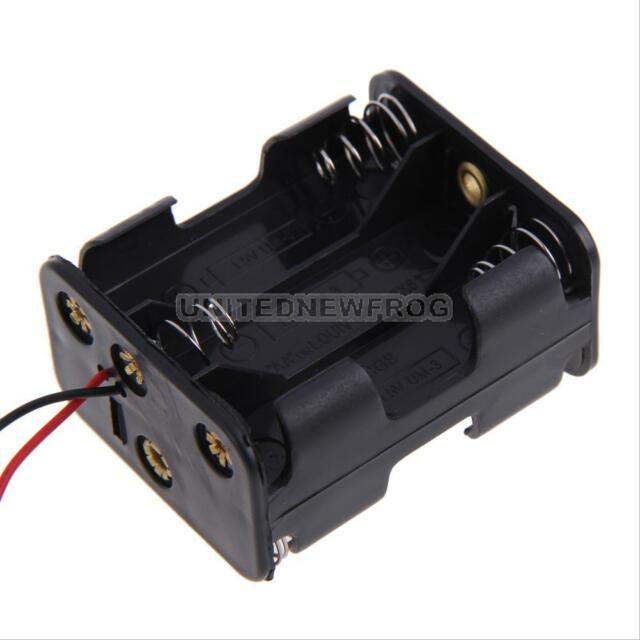 1 Pcs New 6 AA 2A Battery 9V DIY Clip Holder Box Case with Wire Leads Black Hot