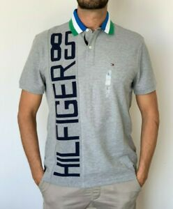 Tommy-Hilfiger-Mens-Designer-Performance-Polo-Wicking-Cotton-Poly-Grey-Size-L