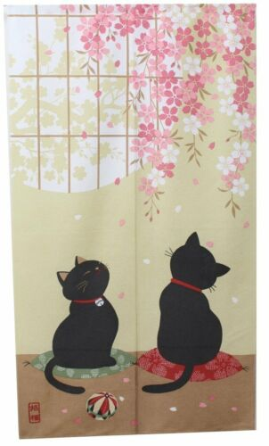Japanese Noren Curtain SAKURA CHERRY CAT 85 x 150cm MADE IN jAPAN