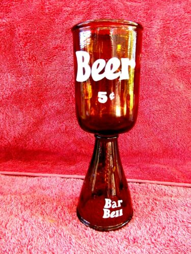 VINTAGE REMOULDED BEER BOTTLE 2 IN 1 BEER GLASS AND BAR BELL 19cm. TALL