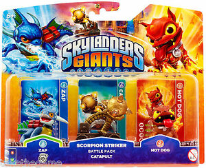 Skylanders-Giants-SCORPION-STRIKER-BATTLE-PACK-with-Catapult-Zap-Hot-Dog-BNIP