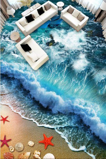 3D onda spiaggia Blau Pavimento Foto Wallpaper Murales Muro Stampa Decalcomania