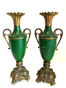 Antique-Pair-Metal-Shaped-Urn-Vase-Ornate-Base-Handles-Deep-Green-12-24-in-Tall