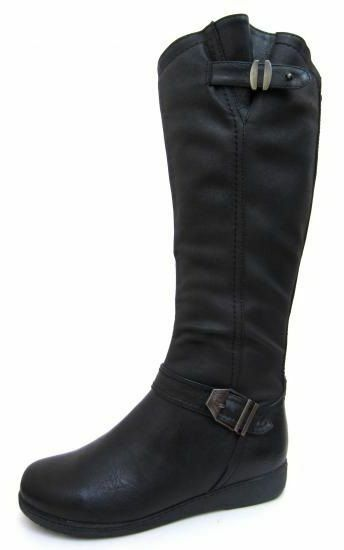 F50330- Ladies Spoton Black Knee High Boots- Buckle Detail.