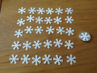 50 White Christmas or Frozen Edible Snowflakes Cupcake Cake Topper Sprinkles