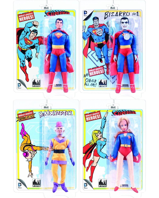 Complete SUPERMAN Figures Series 1 Retro Mego Set of 4 MOC  BIZARRO  SUPERGIRL