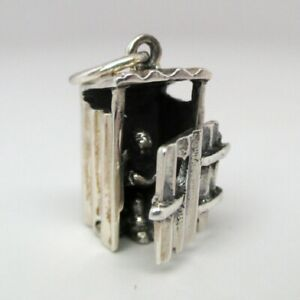 Sterling-Silver-OUTHOUSE-Charm-for-Bracelet-MOVABLE-Reader-Gift-VINTAGE-Pendant