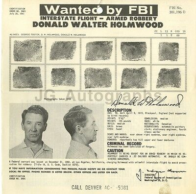 Fbi Wanted Notice 1961 Strong Resistance To Heat And Hard Wearing Robbery Donald Walter Holmwood/interstate Flight