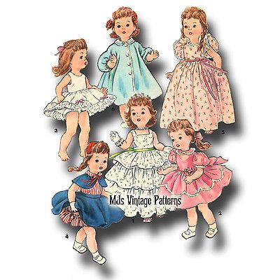 """Vtg 1950s Pattern ~ 16/"""" 17/"""" Saucy Walker Doll Clothes Sunsuit Party Dress Coat"""