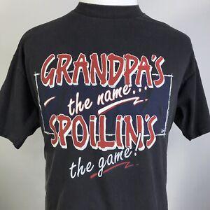 VTG-93-GRANDPA-S-THE-NAME-SPOILIN-S-THE-GAME-BLACK-SINGLE-STITCH-USA-T-SHIRT-XL