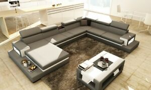 Ledersofa Sofa Ecksofa U Form Couch Wohnlandschaft Designer