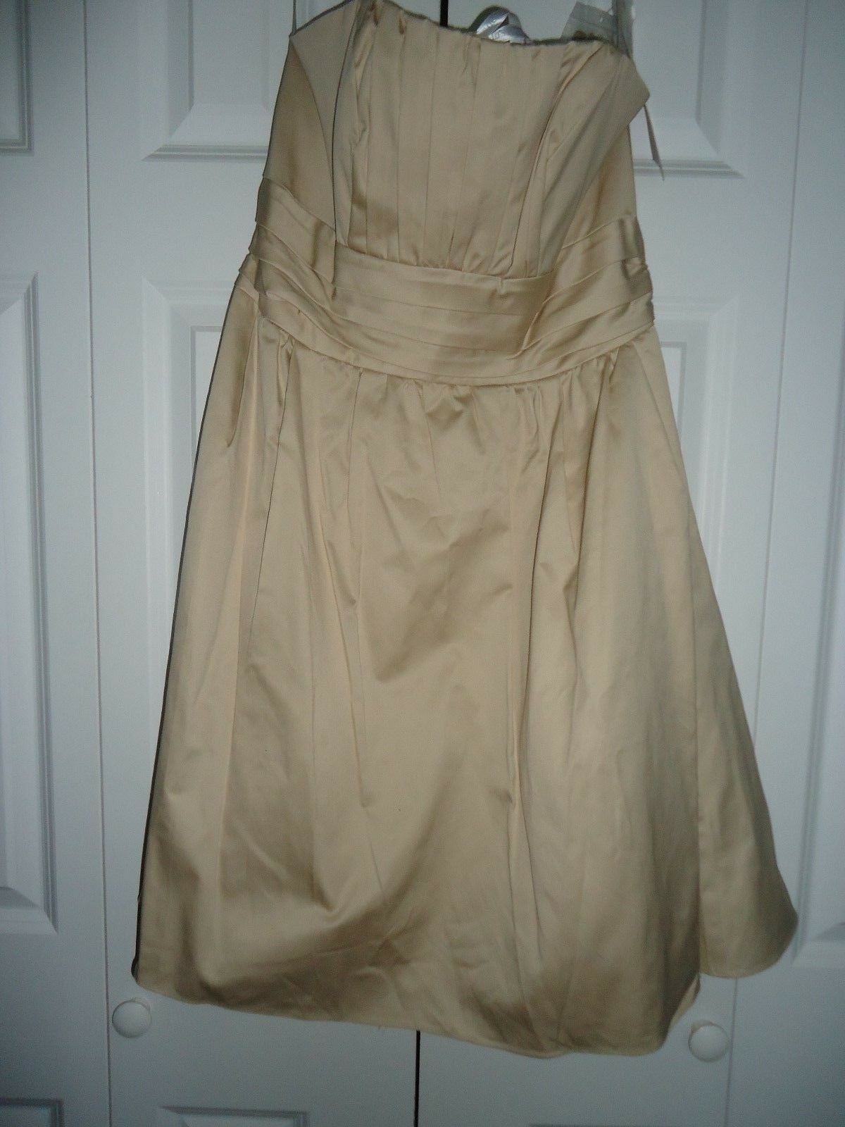 NEW Woman's size 10 David's Bridal Tan Strapless Ruched Knee Length Formal Dress