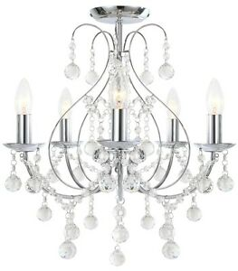 Luxury chrome crystal 5 light ceiling chandelier light lounge bhs image is loading luxury chrome amp crystal 5 light ceiling chandelier mozeypictures Image collections