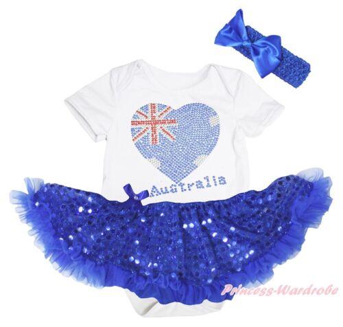 Rhinestone Australia Heart White Bodysuit Blue Bling Girls Baby Dress Set NB-18M
