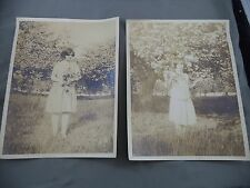 Antique B&W 2 Photo Lot Two Different Young Ladies Apple/Cherry Blossom Trees