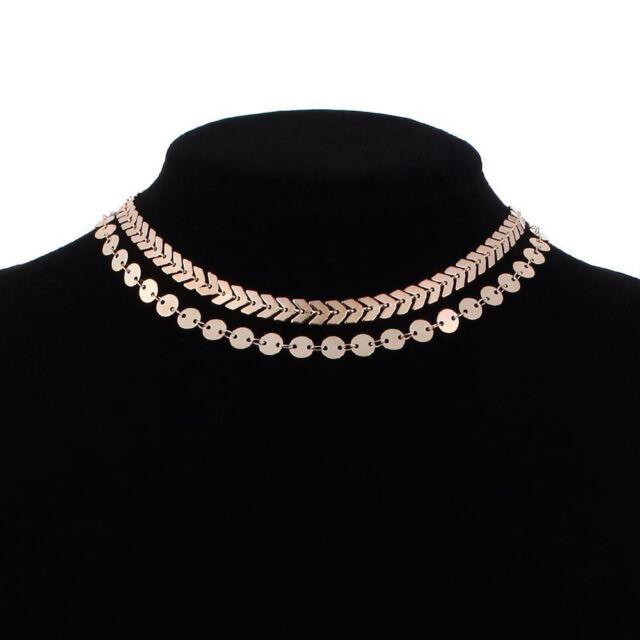 Double Layer Sequins Fish Bone Necklace Simple Choker Women Bohemian