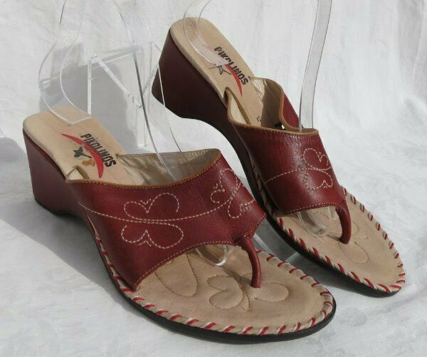 PIKOLINOS Spain Dark Red Leather Mid Heel Thong Sandals shoes size US 9.5 10 40