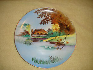 Plates & Chargers Antiques Diplomatic Vintage Handpainted Plate-hut By Water-swans-signed Yochidas?-fall Foliage