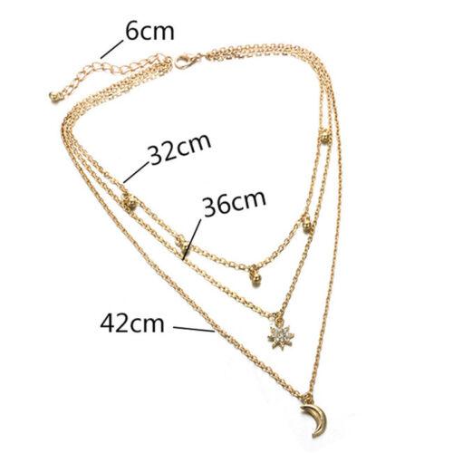 Boho Multilayer Star Moon Chain Choker Pendant Necklace Bib Statement Jewelry  X