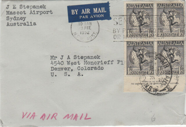 Stamps Australia 1/6 Hermes imprint block of 4 on cover sent airmail to USA