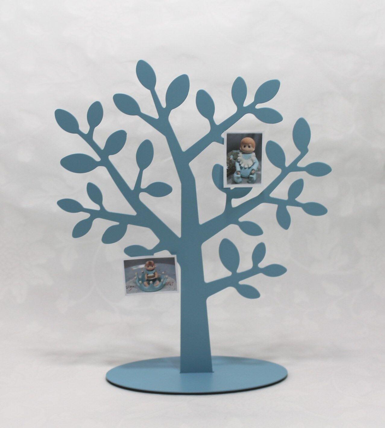 Lebensbaum Familienbaum für Fotos hellblau Taufe Geschenk