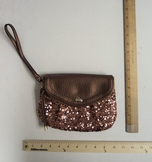 c77aadc16e4b Juicy Couture Traveler Rose Gold Sequined Faux Leather Wristlet Clutch Purse  for sale online | eBay