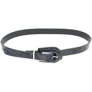 Cintura donna pitonata nera con fibbia e placchette argento altezza 3 cm modello