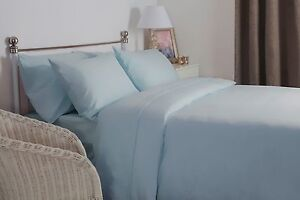 100-Brushed-Cotton-Flannelette-Deep-Fitted-Sheet-Superking-Size-Blue-38cm-Deep