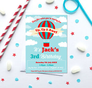 Hot air balloon birthday party invitations any age pack of 10 image is loading hot air balloon birthday party invitations any age filmwisefo