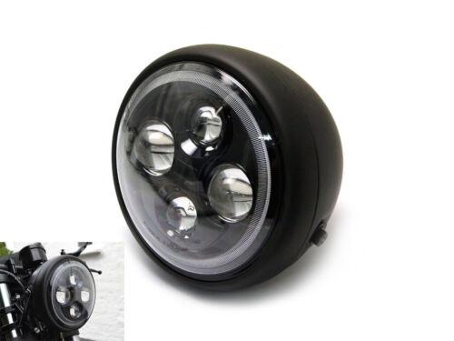 Motorbike Headlight with Halo 7.7 High Quality Projector LED Matt Black Project