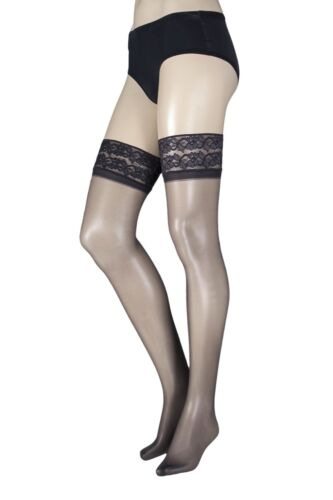 Ladies 1 Pair Pretty Legs Classic Nylons Lace Top Hold Ups