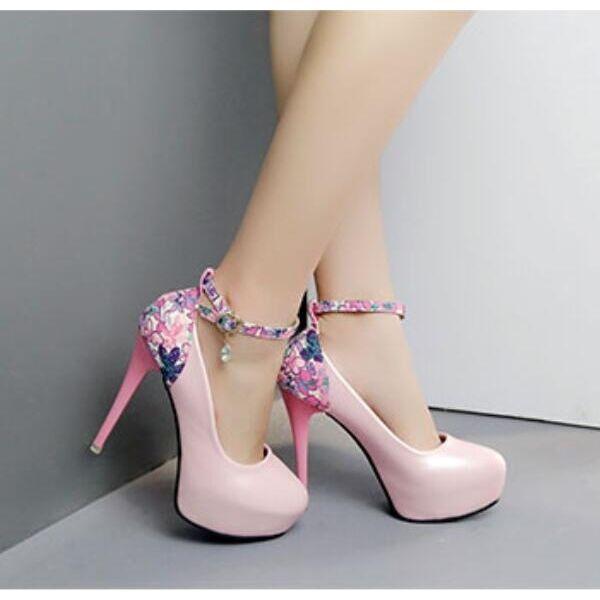 decolte Sandaleei chiaro rosa fiori cinturino tacco plateau 12 cm simil pelle 8058