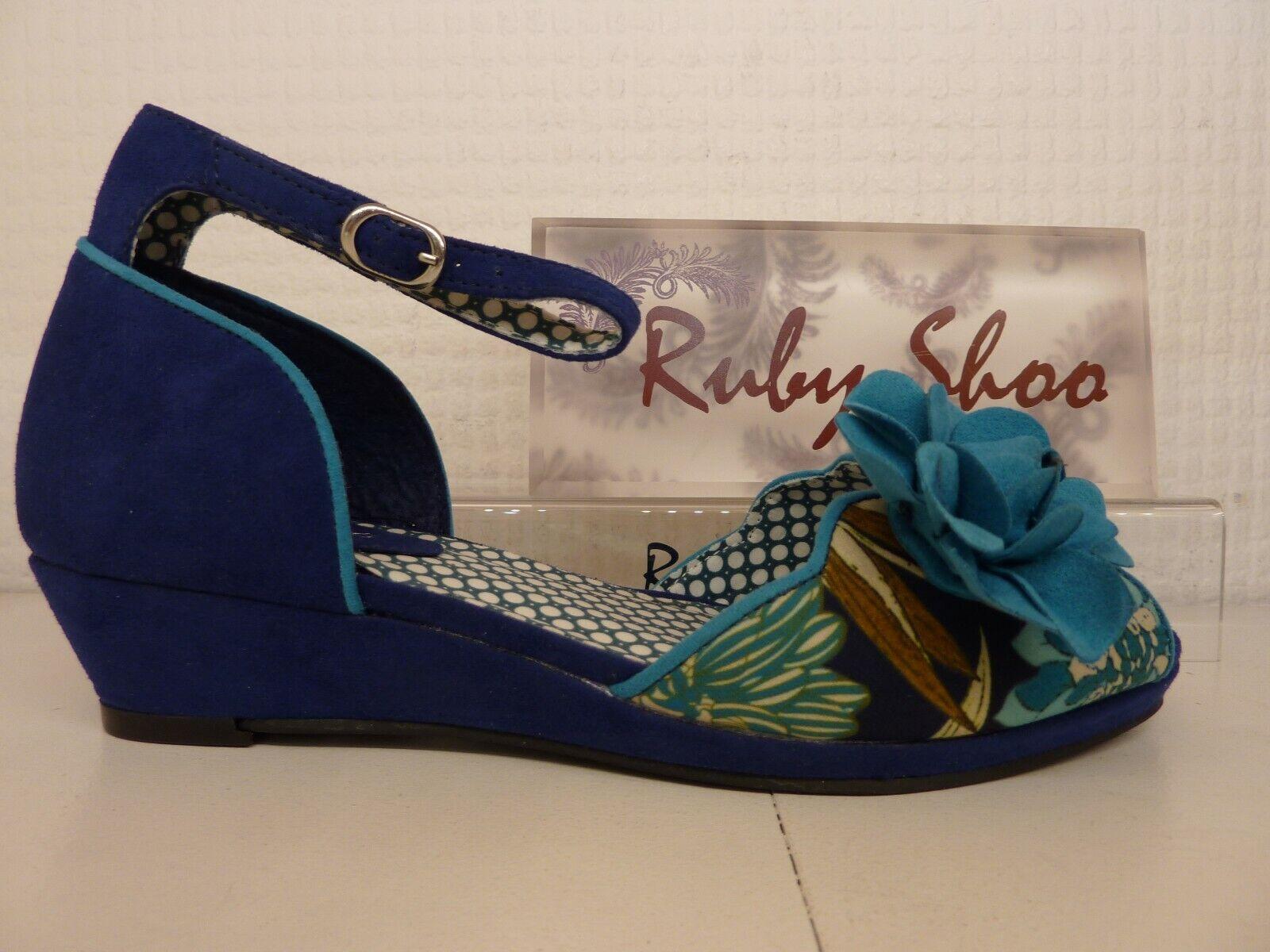 Ruby SHOO Phyllis Azul Azul Azul puntera abierta sandalia de tacón bajo cuña Damas Flor  servicio considerado