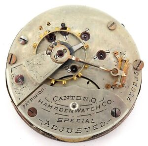 1892-HAMPDEN-SPECIAL-ADJUSTED-18S-17J-RRG-MENS-POCKET-WATCH-MOVEMENT-amp-DIAL