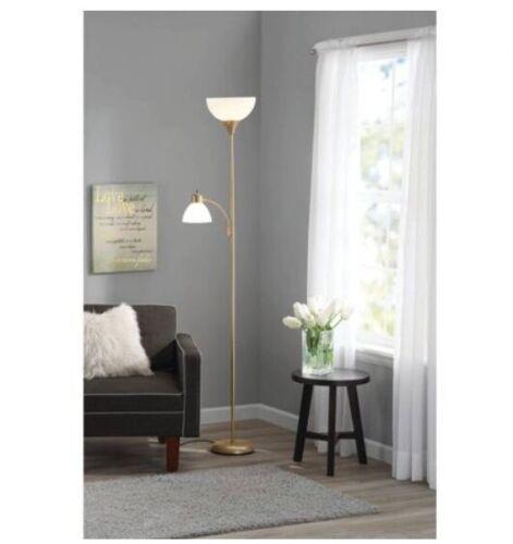6/' Combo Metal Floor Lamp 3-Way Rotary Light Plastic Absorb Shades Indoor Lamps
