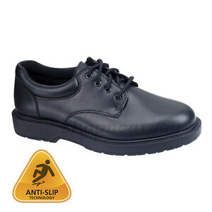mens oxford work shoe black slip resistant non skid casual