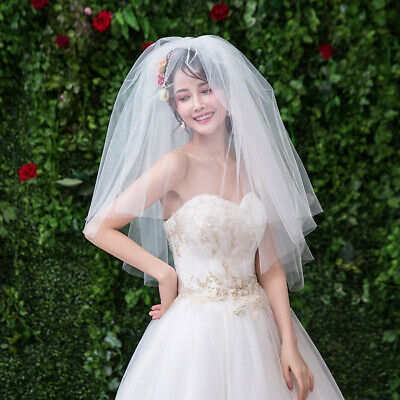 short white puffy tulle women's wedding bridal veil bride