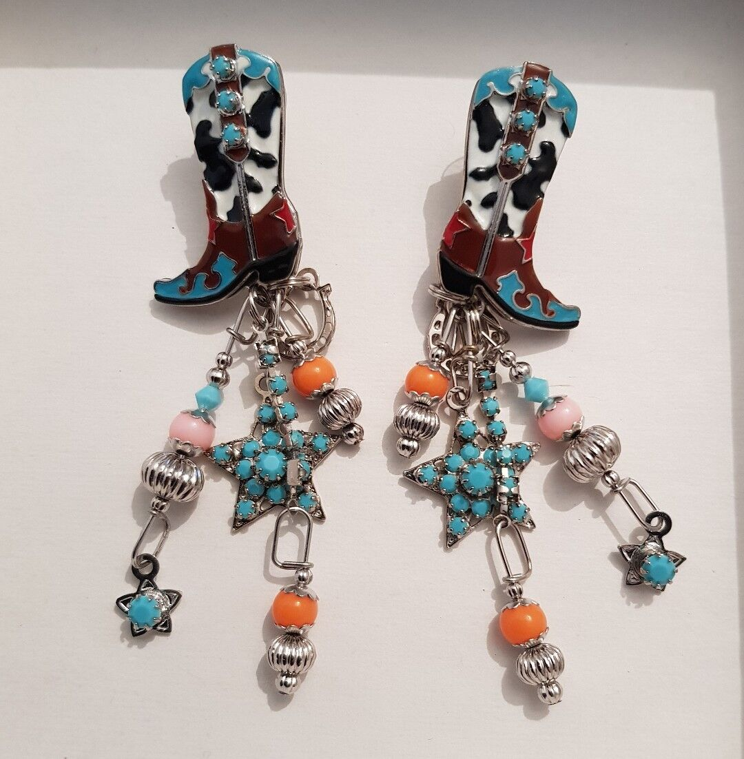 Lunch at The Ritz 2GO Cowgirl Boots Rhinestone Enamel Earrings NWT rrp  299