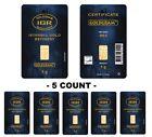 Lot of 5 - 1 gram Istanbul Gold Refinery (IGR) Bar .9999 Fine (In Assay Card)