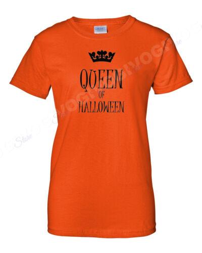 Queen Of Halloween T Shirt Funny Costume Humor Tee T-shirt Crown Short Sleeve