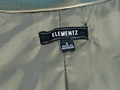 SIMMERING METALLIC TAUPE FAUX LEATHER ZIPPER DESIGNER JACKET by ELEMENTZ