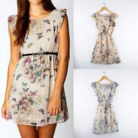 B Womens Sundress Floral Butterfly Print Party Summer Skater Swing Mini Dress