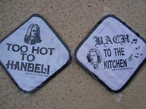 """2/Music POTHOLDERS 7"""" x 7"""" BACH to Kitchen/HANDEL W/Care Music Gift Brand NEW"""