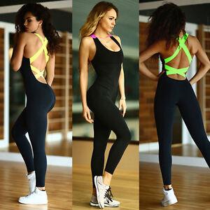 damen sports gym yoga laufen fitness leggings hose overall sportliche kleidung ebay. Black Bedroom Furniture Sets. Home Design Ideas