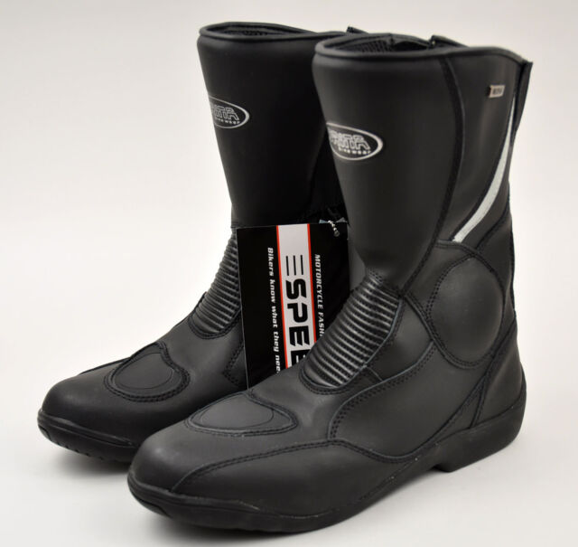 Men's Black Motorcycle Bike Boots Genuine Leather Waterproof 3M Reflective 9299